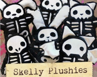 Cute creepy hand made embroidered 6 inch stuffed Halloween skeleton plushie available in bear/ rabbit/ puppy/ kitty/ bat or bird
