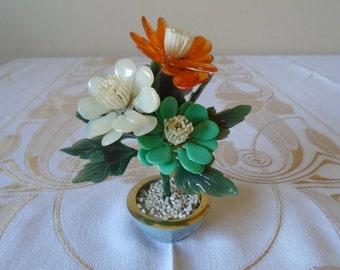 miniature vase plastic flowers