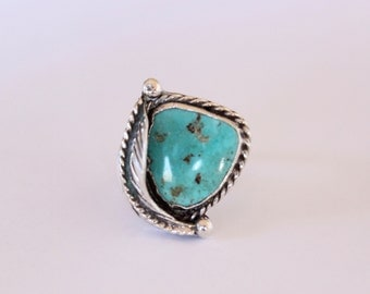 Leafy Silver Turquoise Ring