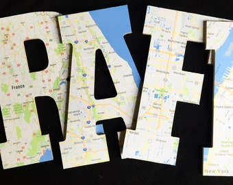 Custom Map Letter, Map Room Decor Letter, Nursery Letters, France Map Letter, New York Map Letter, Florida Map Letter, A
