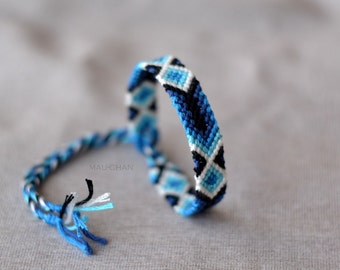 Woven Friendship Bracelet With Blue Gradient - Ready To Ship -