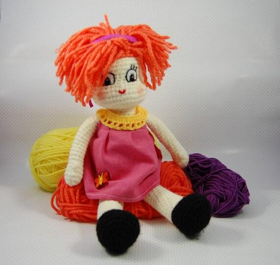 Amigurumi Doll Hair Bun : Amigurumi Doll Guillermina Orange Hair Ready to Ship