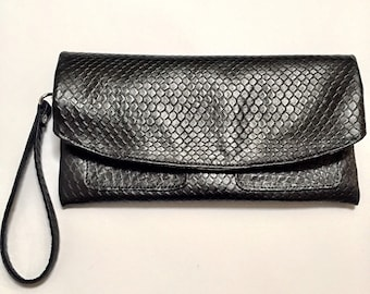 The Clutch Purse - Black Snake Print Leather