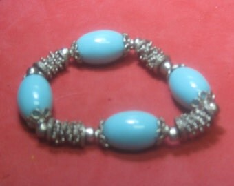 Vintage Bracelet baby blue turquoise and silver