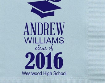 Personalized Party Napkins for Graduation {Blue-Heavenly}