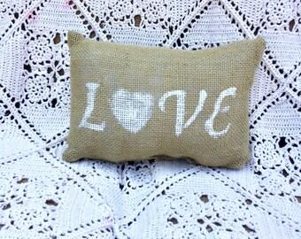 Small Burlap Love Pillow