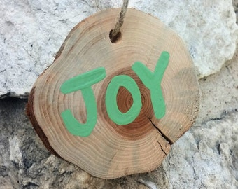 Joy Rustic Log Slice Christmas Ornament