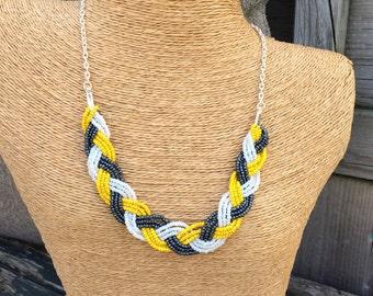 Navy braided bib, navy necklace,  navy bridesmaids, nautical bridesmaids, navy bib necklace, navy and yellow, yellow bib necklace, necklace