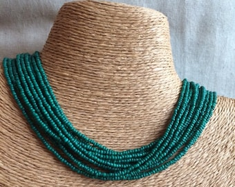 Green beaded necklace, green seed bead multi-strand necklace, green bridesmaids, green necklace, bridesmaids necklace, green multi-strand