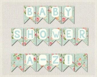 WHOLE ALPHABET Banner Banner Bunting Blue Pink Burlap Shabby Chic Floral Happy Birthday Banner Alphabet Baby Shower Girls Neutral BS-15