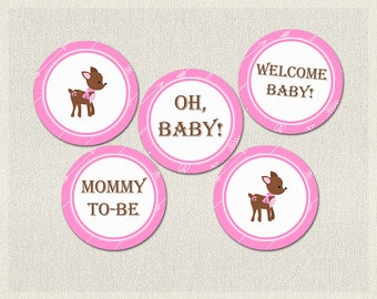 Deer Cupcake Toppers | Pink Woodland Baby Shower Printable Cupcake Toppers Decorations Girl BS-182