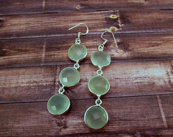 Long Faceted Green Chalcedony Sterling Silver Earrings