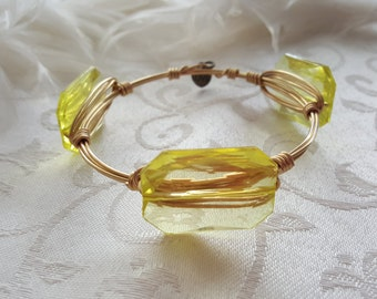 Clear Yellow Angular Wire Wrapped Bangle