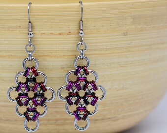 """Japanese Diamond Earrings in Stainless Steel and """"Goth"""" Colored Anodized Aluminum"""