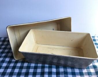 vintage white lined loaf pans lot of 2