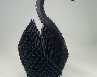 Black 3d origami swan with rhinestones