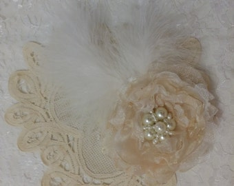 Handmade Organza off-white/white flower  wedding comb,special occasion,headband, brooch