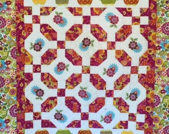 Owls and Posies Quilt, Hand Made Patchwork Quilt, Bright Color Owl Quilt, Appliqued Quilted Throw