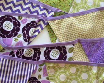 Purple and green bunting