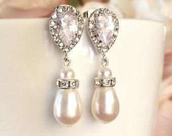 Teardrop swarovski pearl bridal earrings, wedding jewellery, teardrop cubic zirconia, crystal bridesmaid earrings, pearl wedding jewelry