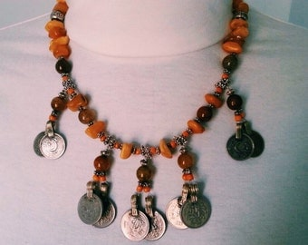 Necklace Necklace Amber Baltic Pearl stones parts old Afghan