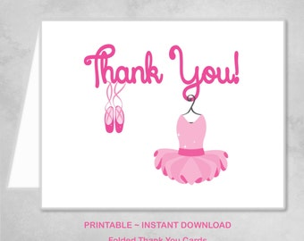 Printable Ballerina Ballet Dancer Pink Thank You Cards Children Kids Girls Birthday Party Thank You Cards ~ DIY Instant Download