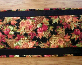 "Handmade Quilted Elegant Table Runner, Fall Harvest Cornucopia Thanksgiving Theme, 12""x34"" (Runner2091-31-40)"
