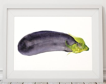 Aubergine print Vegetable art Kitchen poster Watercolor print