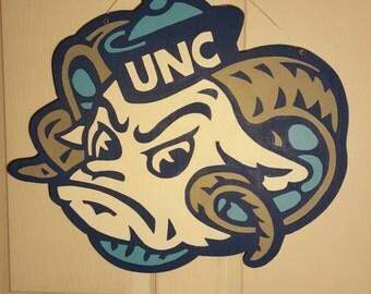 UNC Tarheel Ram Head Wood Door Hanger