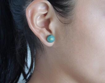 earring, green earrings, ceramic earrings, silver 925 earring