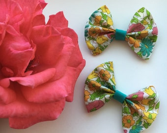 Colorful Floral W/ Teal Piggy Bows