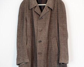 Sherlock Holmes Coat 1950s Plaid Trench MENS Vintage Coat Beige Chocolate Brown Lead Coat Ivyridge Made in Paris