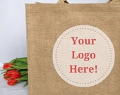 Custom Business Logo Large Jute Bags. Small business marketing. Corporate gifts.