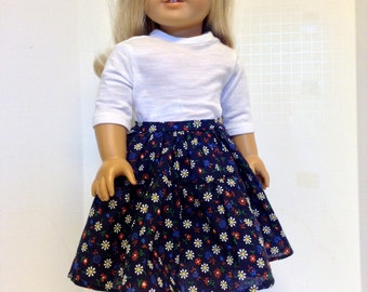 18 Inch Doll Clothes,  Cotton Print Skirt and T-Shirt