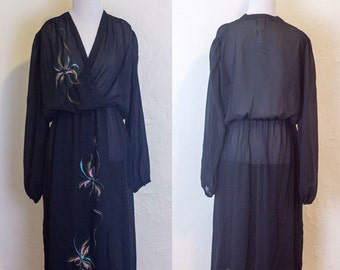 Vintage Sheer Black Faux Wrap Dress