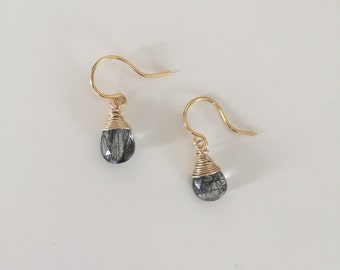 Gorgeous Handmade Tourmalinated Quartz Gold Earrings