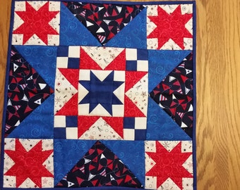 Stars and flags red white and blue table runner