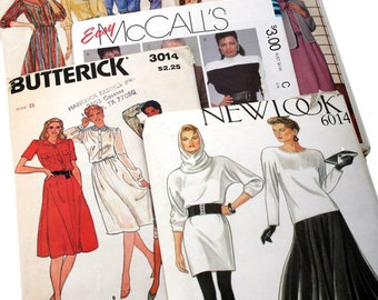 1980's Dress Patterns - Totally Awesome - Butterick, McCall's, New Look