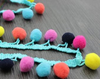 5 Yards Multi Colors Pom Pom Trim Polyester Fringe Balls Gypsy Scarf Trimming Boho Embellishment Handmade Project Supplies