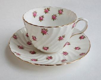 Aynsley Rosedale Teacup and Saucer / Aynsley Bone China