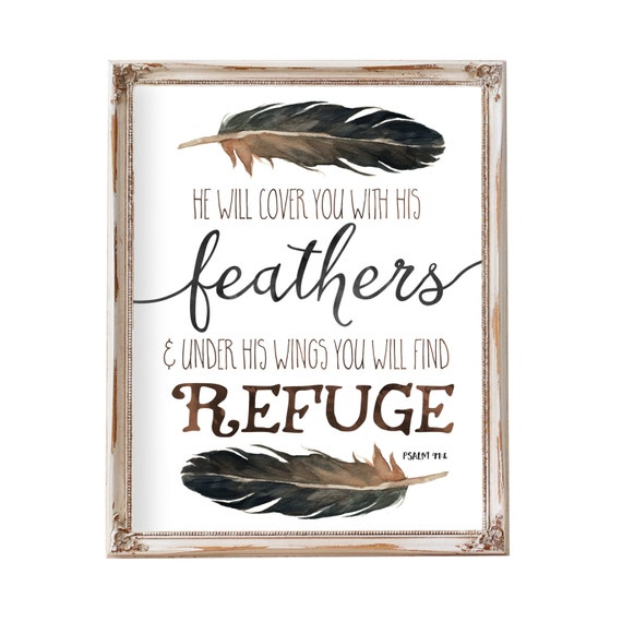 Tribal Nursery, Psalm 91:4, He Will Cover You With His Feathers, Boy Nursery Art, Woodland Nursery, Feather Art, Boy Nursery Decor, Feathers