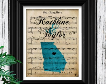 2nd Year Cotton Anniversary Gift For Him | 100% Cotton Fiber 8X10 Art Print | Your Custom Sheet Music | Your State | Smooth Velvet Texture