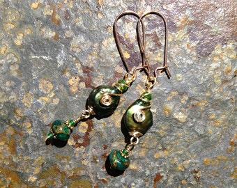 Golden Green Pearl Earrings
