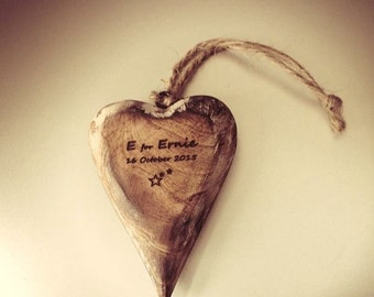 Personalised rustic chunky wooden heart