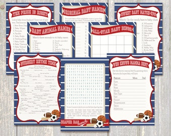 All-Star Baby Shower 8-Game Pack, Sports Baby Shower