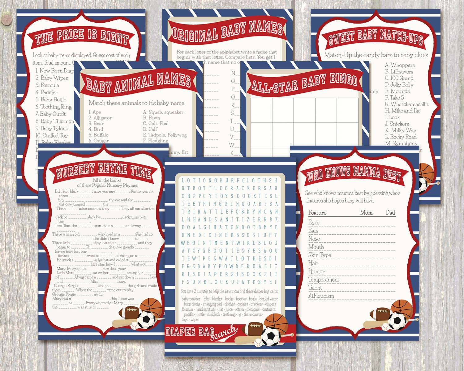 all star baby shower 8 game pack sports baby shower