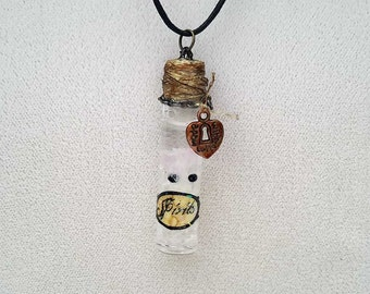 Ghost Necklace, Spirit Necklace, Ghost in a Bottle, Halloween Jewelry, Spirits in a Bottle