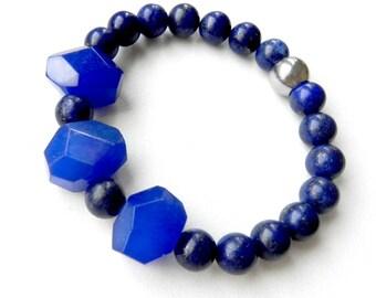 Lapis Lazuli bracelet Jade bracelet Genuine stones Dark blue bracelet Original cut beads Stretch bracelet Boho style Possible set