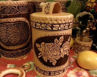 Birch bark kitchen canisters, large storage box