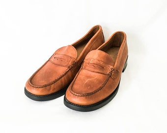Men's leather loafers 10M - Men's cognac leather penny loafers - Men's penny loafers - Men's weejuns - Men's mocs - Bass weejuns